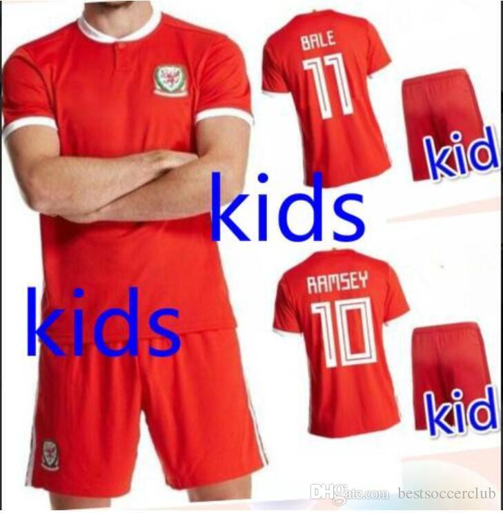 Compre 2018 País De Gales Crianças Camisa De Futebol Aaron Ramsey Garé Bale  Allen Taylor Ward Robson Kanu Williams Vermelho Das Crianças Camisas De  Futebol ... 3ceb4163b2343
