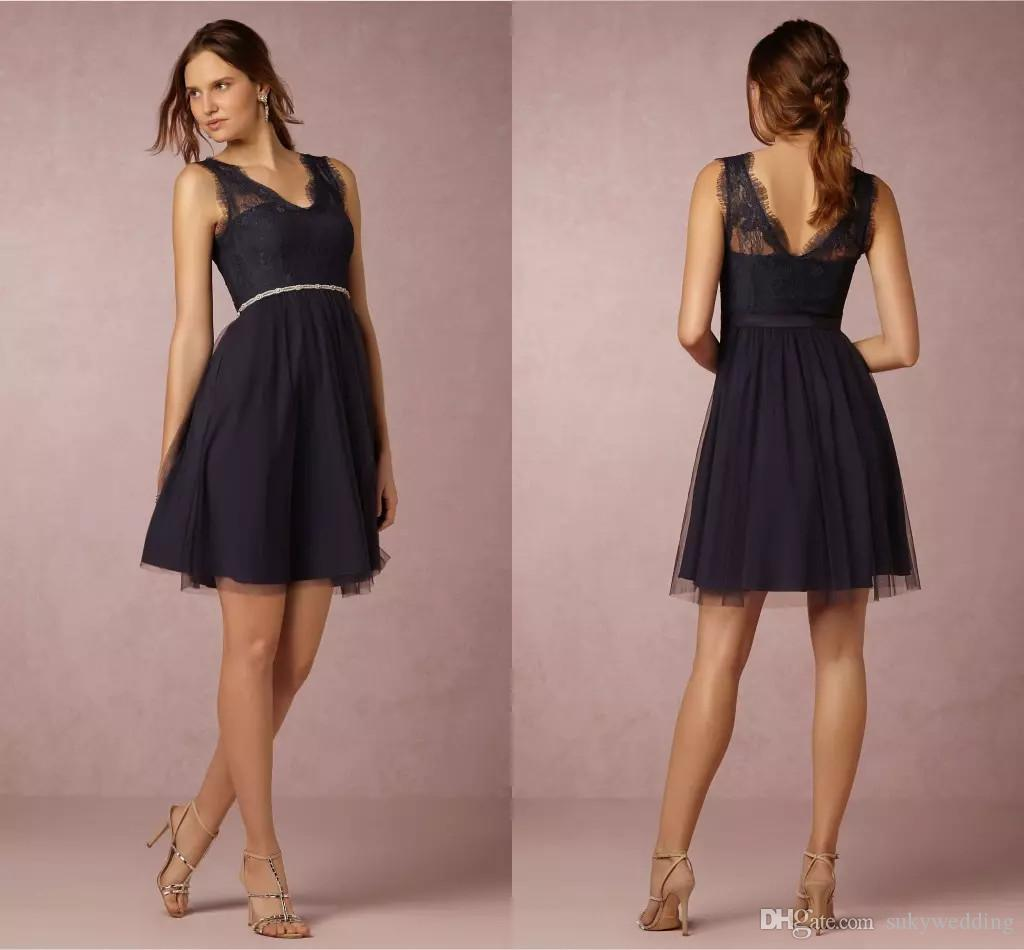 2018 BHLDN Lace Navy Blue Bridesmaid Dresses Knee Length Cheap V Neck Short  A Line Maid Of Honor Gowns Special Occasion Dresses For Wedding Full Length  ... 2c7c2074b5b0