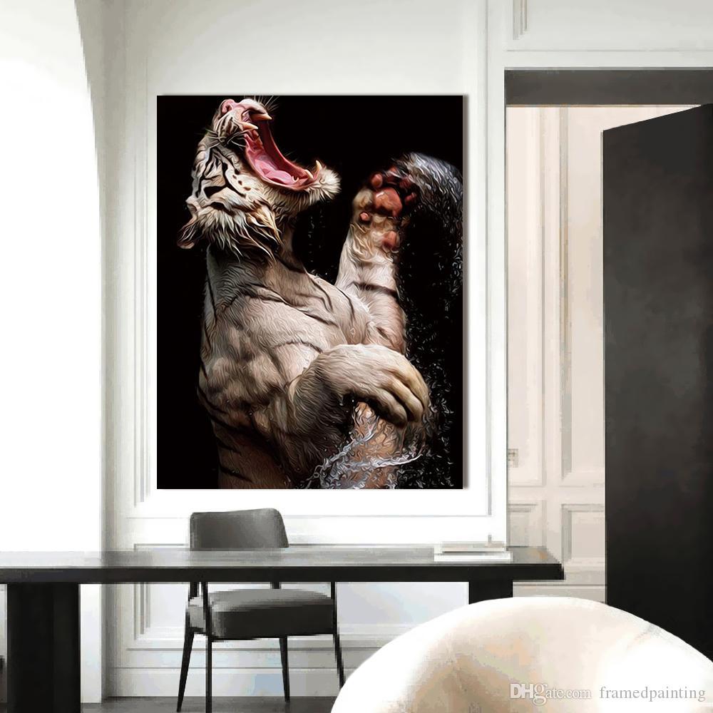 Acquista Immagini A Parete Soggiorno Pittura Animale Home Decor Canvas Art  Pittura A Olio Tigre Bianca Senza Cornice Stampata A $24.96 Dal ...
