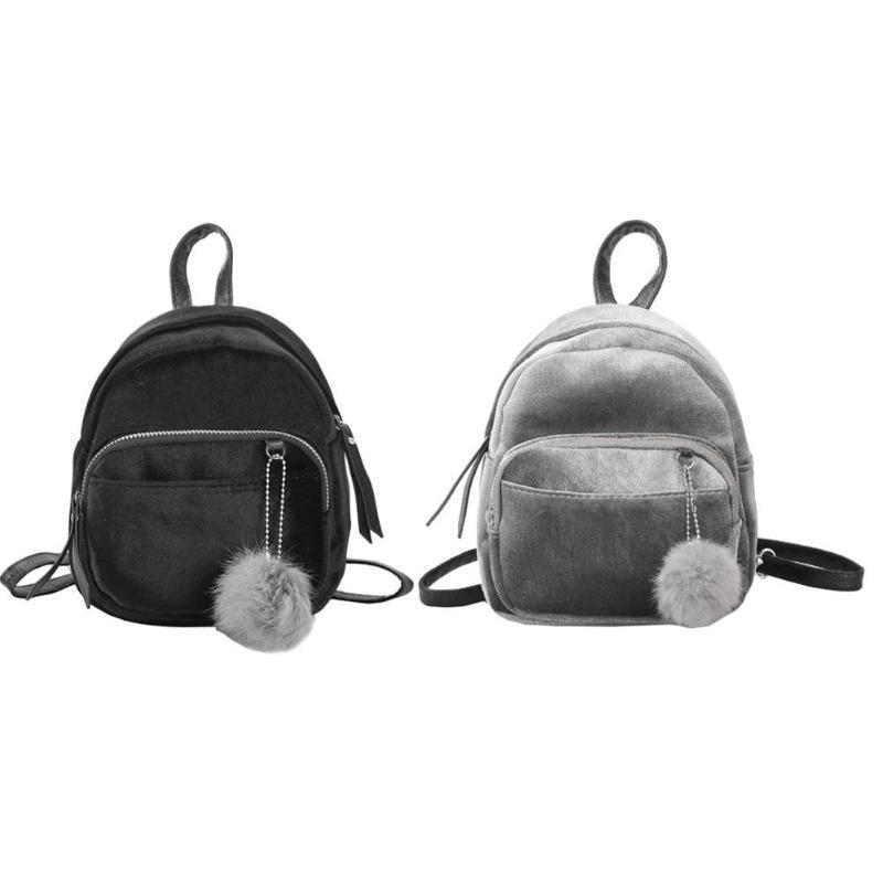 429143ec179d Women Velvet Backpack Schoolbag Travel Shoulder Bag Mini Backpack For Teenager  Girls Winter Soft Women Daypack Female Mochilas Rucksack Jansport Backpacks  ...