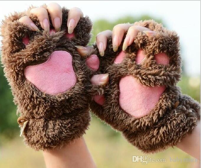 Donne ragazza bambini inverno soffici peluche Guanti Mittens Halloween Christmas stage perform prop Cosplay cat bear Paw Claw Glove bomboniere