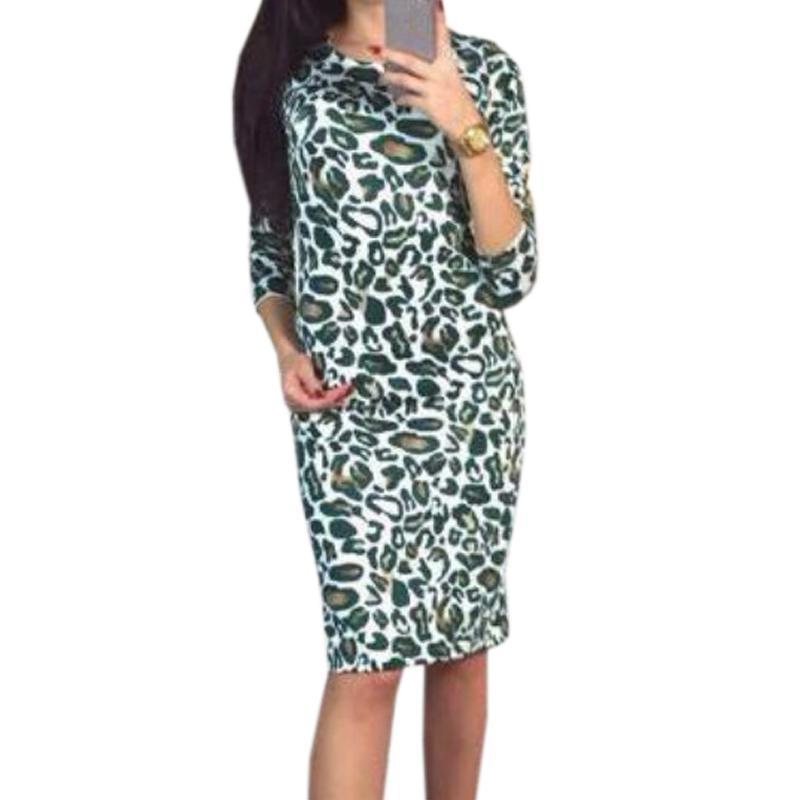 96be05a2f Compre Leopardo Impresso Mulheres Verão Bodycon Vestido Sexy Bainha Magro  Feminino Na Altura Do Joelho Comprimento Pacote Hip Vestidos Femme Plus Size  S XL ...