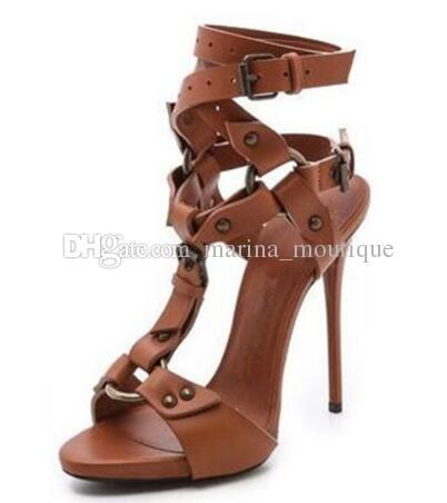 T-Strap High Heels Schuhe Frau Sexy Gladiator Sandalen Pumps Schwarz Braun Stöckel Absatz Echtleder Prom Sandalen 42