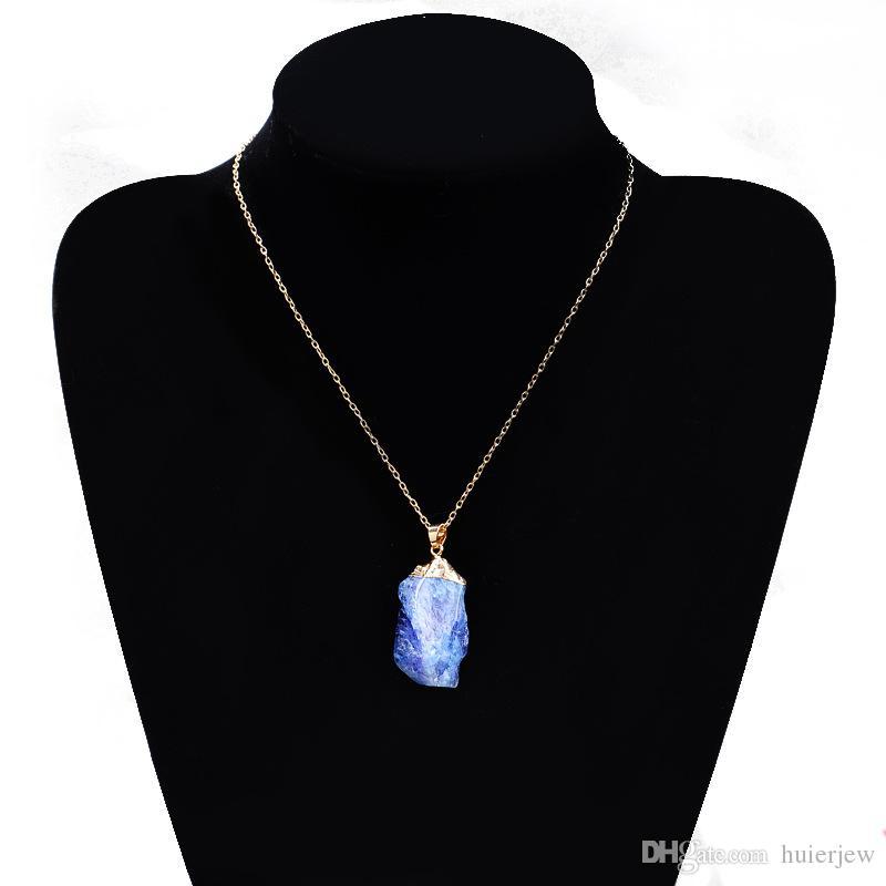 Kristal Kuvars Şifa Noktası Çakra Boncuk Doğal Taş Kolye Orijinal Kolye Kadın Erkek Takı Kaplama Altın Zincirler Bildirimi Kolyeler