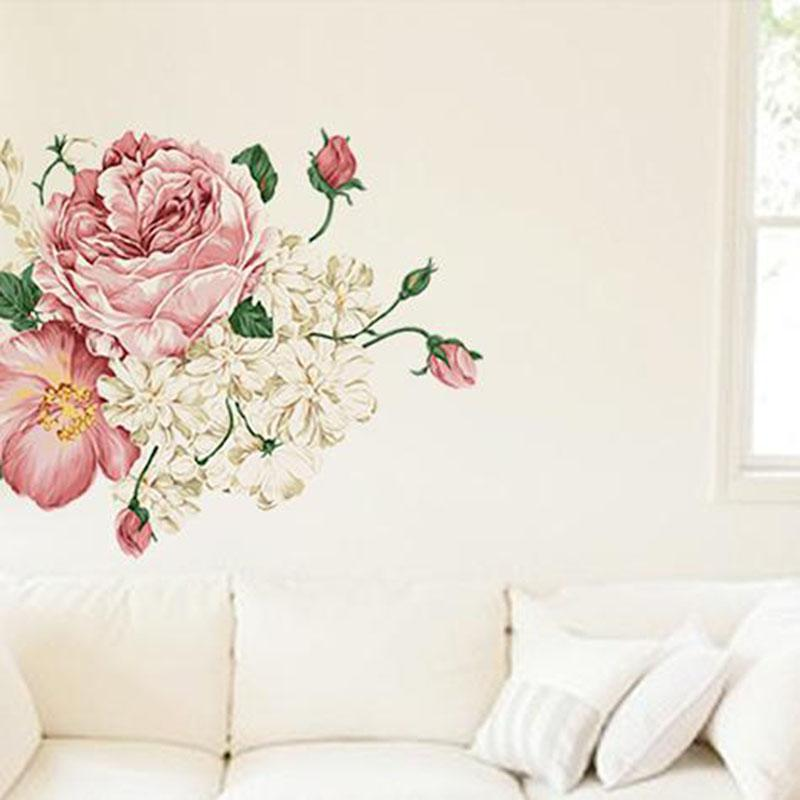 3D New Beautiful Peony Flower Sticker Wall Decals For Kid Room Bedroom  Living Room Decorative Stickers PVC Wall Stickers Home Wall Stickers Horse  Wall ...