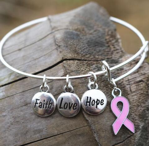 Vintage Silver Pink Ribbon Faith Hope Love Charms Brazaletes de Alambre Expandible Para Mujeres Joyería Regalo Ajustable Brazalete Accesorios NUEVO
