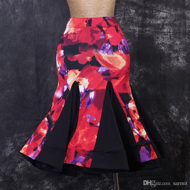 Latin Dans Etek Dans Giyim Zarif Kalite D328 Patchwork 3 Renkler Çiçek Baskı Ruffled Kabarık Hem
