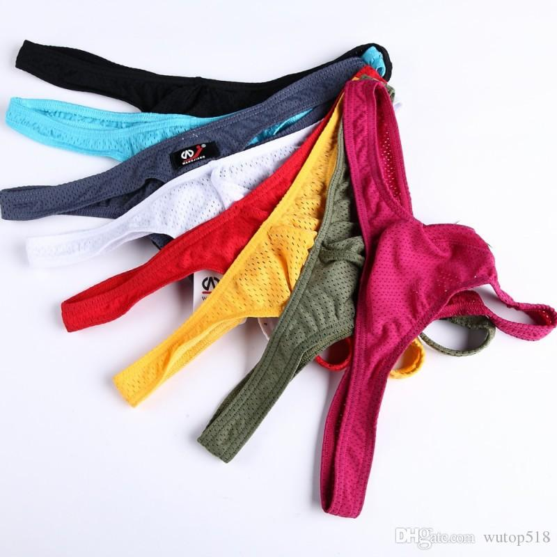 a46490b9e7 WJ Mens Sheer Bikini U Convex Transparent Thongs Breathable Low Rise ...