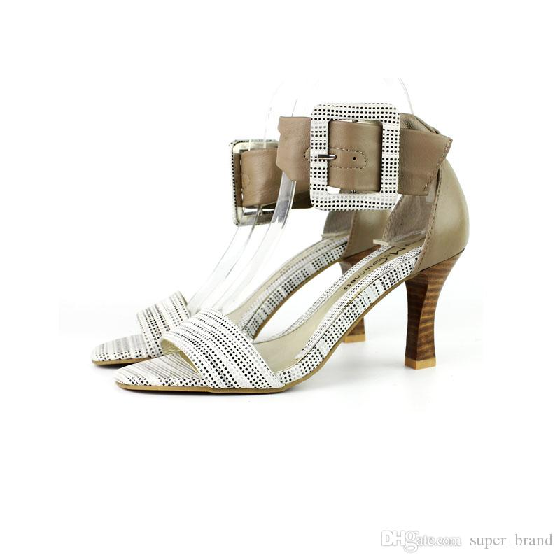 2017 Kim Kardashian High heel Sandals Suede T-Strap Woman Gladiator Sandals A word of true leather large code, elegant color white
