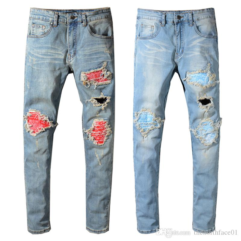 db135809313 2019 Balmain New Fashion Mens Designer Brand Black Jeans Skinny Ripped  Destroyed Stretch Slim Fit Hop Hop Pants With Holes For Men From  Thenorthface01