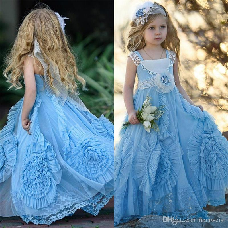 20f96f631c0d 2019 Cute Lace Flower Girls Dress New Design Square Neck Lace Pageant Dress  For Girls Birthday Dresses Tulle Pleated Ruched Formal Wear Flower Girl  Dresses ...