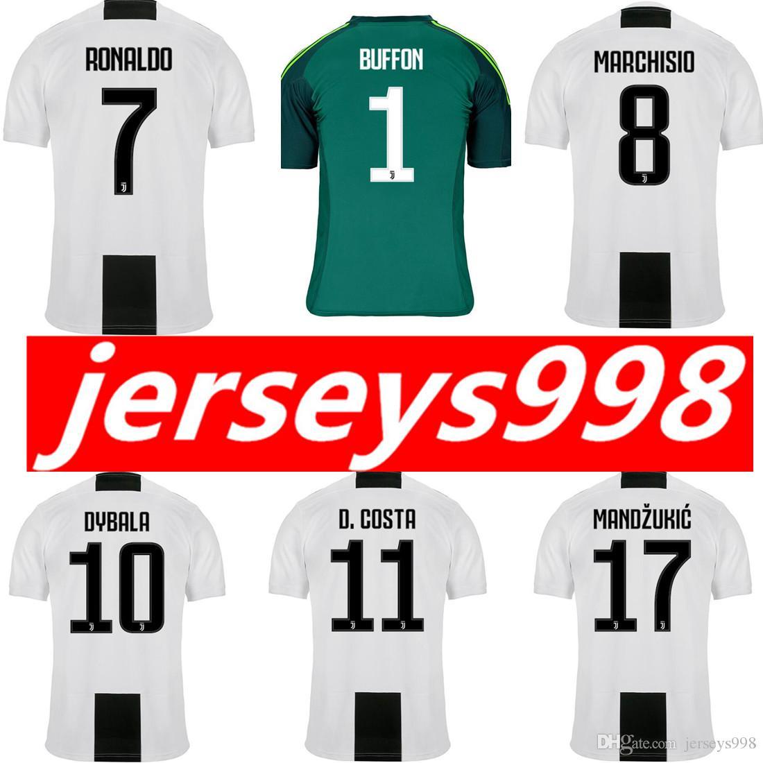 newest 204c0 6132a 18 19 RONALDO Dybala JUVENTUS Soccer Jersey MAGLIA Calcio HIGUAIN Black  Goalkeeper Buffon D.Costa MANDZUKIC Matuidi Football Shirts Maillot
