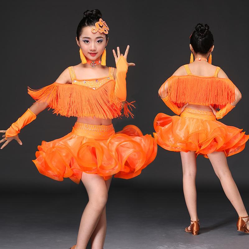 db3fac06c80a Tassel Ballroom Dancing Dresses Skirt Kids Fringe Children ...