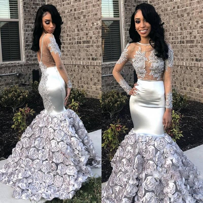 39ea1a3d263 Silver Mermaid Prom Dresses African Low Back Appliques Lace Beads Long  Sleeves Evening Dress Rose Train Cocktail Gowns Vestidos De Fiesta  Cinderella Prom ...