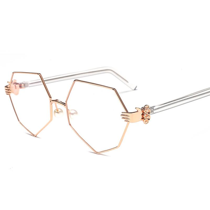 d87a4cc9ff 2019 Yang Power Spectacles Frame Female Tide Octagonal Irregular Large Frame  Plain Face Pearl Can Be Matched With Glasses Finished From Hatsock