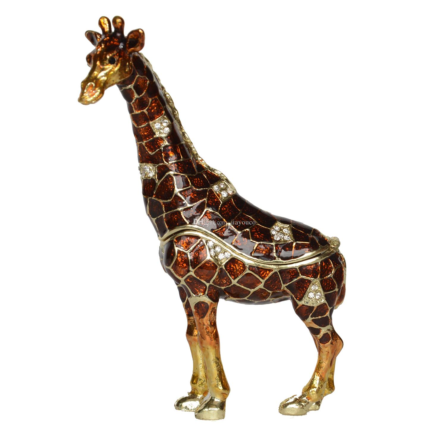 Standing Giraffe jewelry trinket box home decoration animal figurine gifts ring box necklace holder