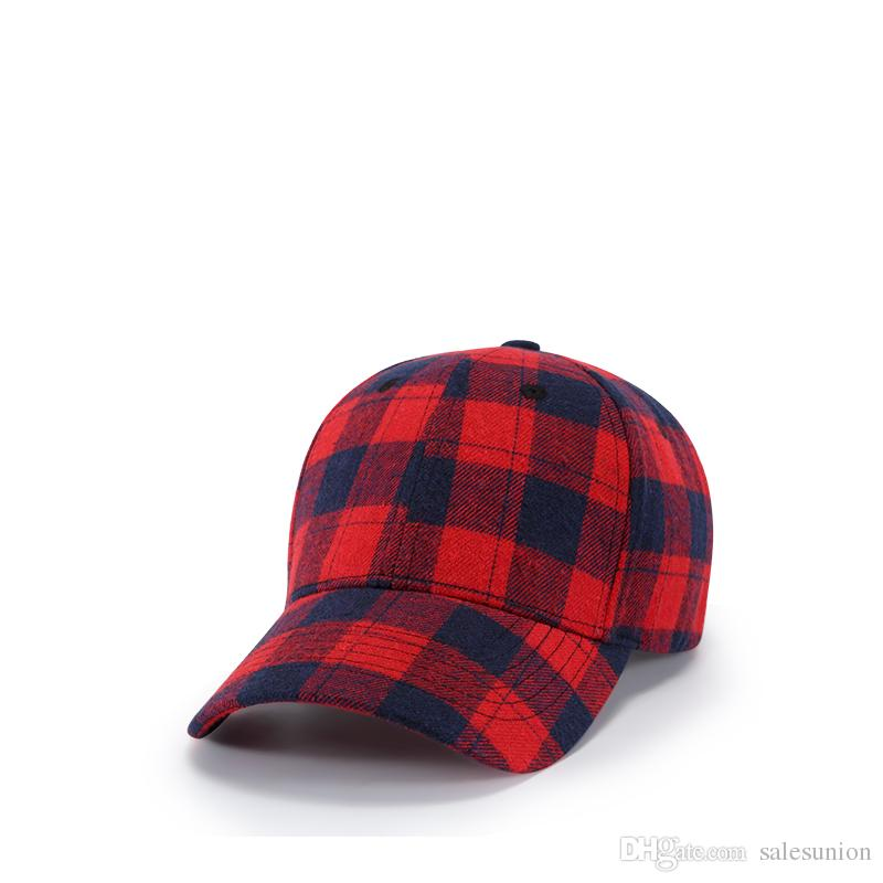 Autumn Winter Mens Adjustable Plain Hats Red Plaid Baseball Hats For Women  Fashion Leisure Drake Bone Casquette Cotton Gorras Drop Shipping Snapback  Cap ... 0608028a63d