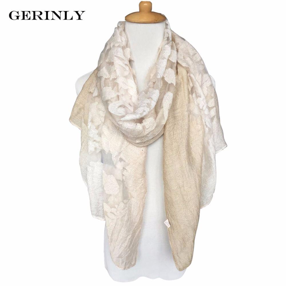 1950f95af9328 GERINLY Fashion Scarf Women's Luxury Brand Bandana Embroidery ...