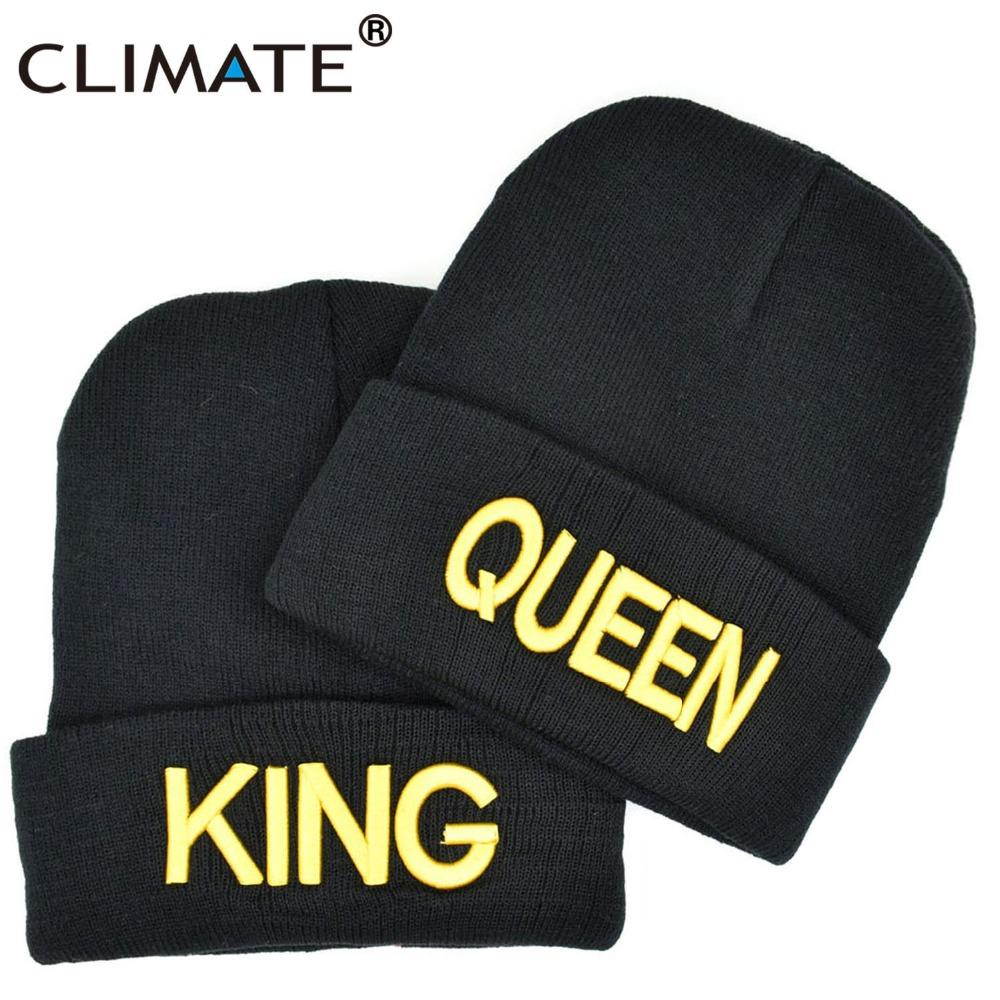 252fc275f70 2019 CLIMATE King Queen Beanie Hat Women Men Lover Winter Warm Hat Couples Soft  Warm Knitted Hip Hop Cap For Couples Lovers From Litchiguo