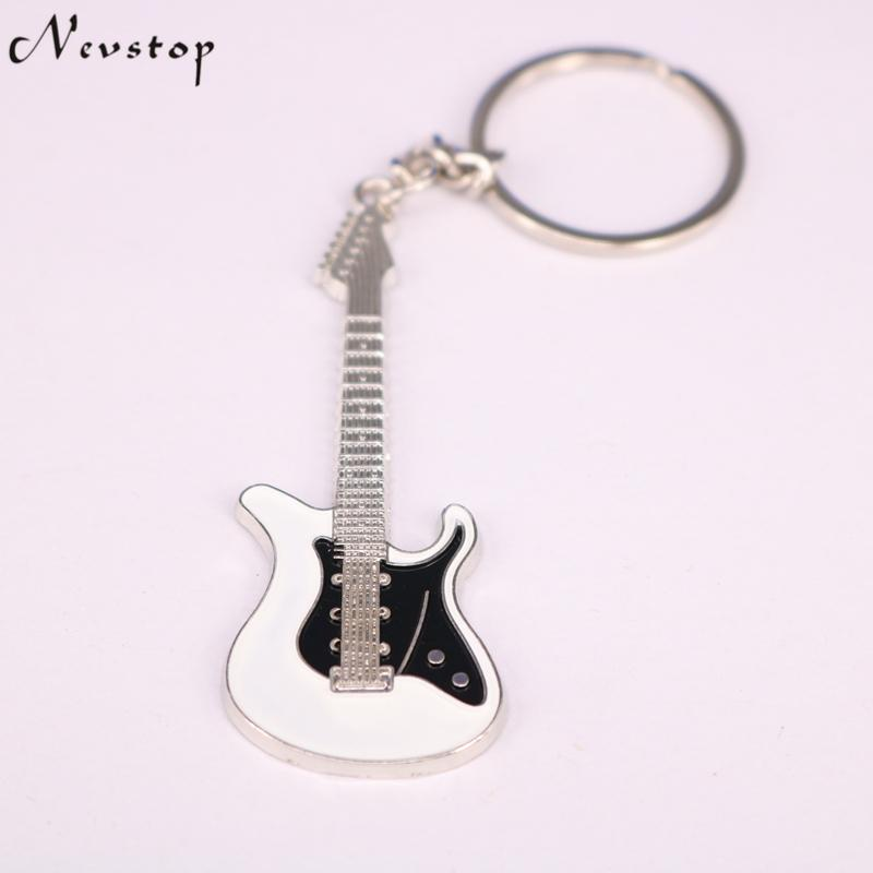 Guitar Keychain 1PC Unisex White and Black Guitar Key chain classic Key Ring 16a224dea6ce