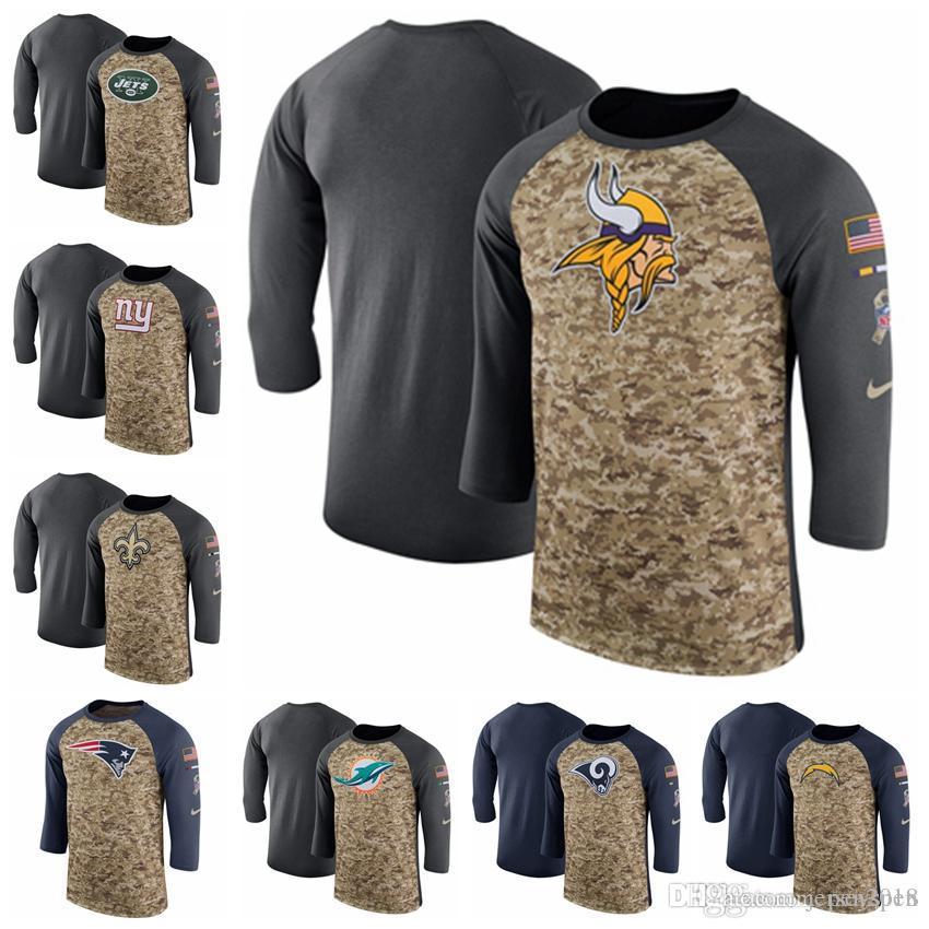 competitive price ecdf6 51ca1 Men s New York Jets Giants Minnesota Vikings Miami Dolphins Camo Charcoal  Salute to Service Legend Three-Quarter Raglan Sleeve T-Shirt