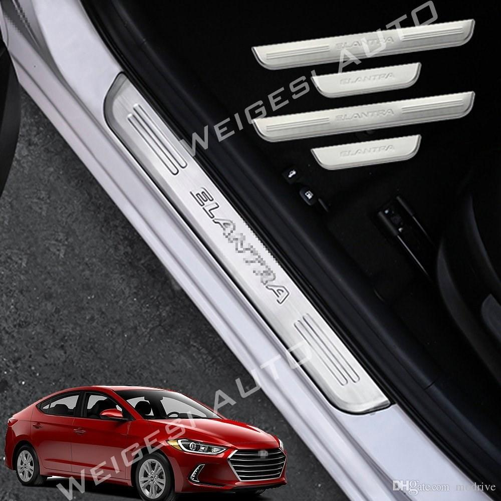 New For Elantra 2017 Car Stainless Steel Door Sills Scuff Plate Fit