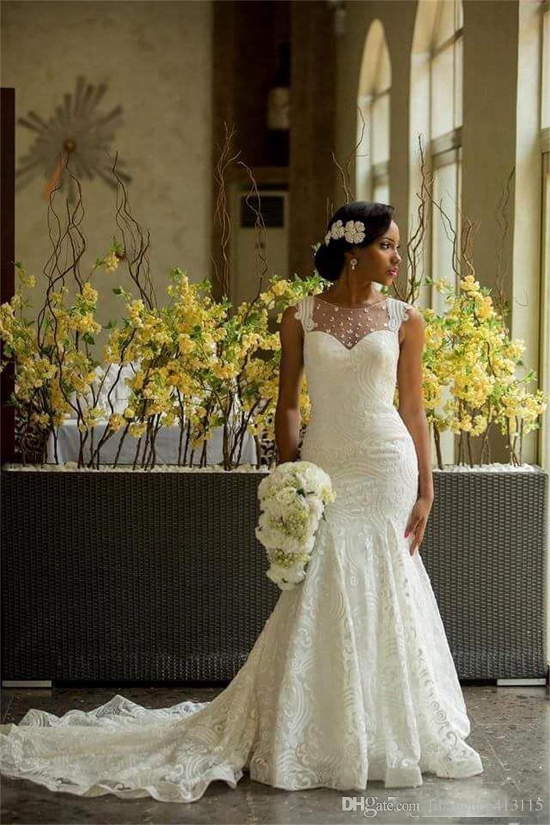 2018 Garden Wedding Dresses Mermaid Illusion Neckline Bridal Gowns ...