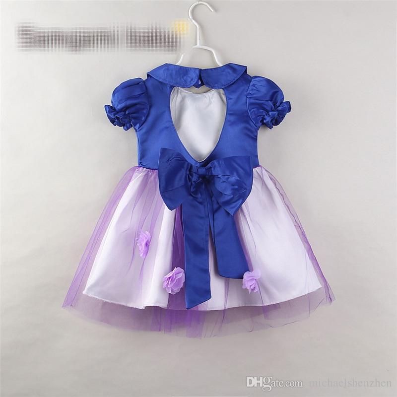 i Baby girl ins in pizzo a forma di cuore abito 2018 Nuovi bambini moda manica corta abiti da principessa Rosso e blu B001