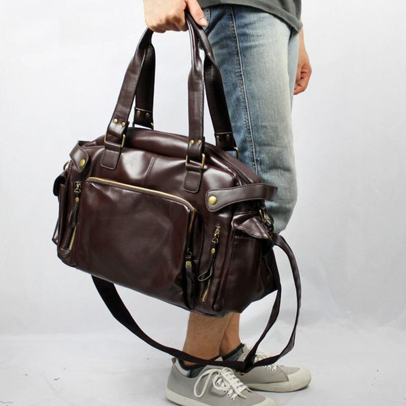 ab0ee80c88cd 2017 PU Leather Men S Travel Bags Casual Shoulder Bag Brand Men Messenger  Bags Large Capacity Handbag Man Travel Duffle Totes Holdall Sports Bags  From ...