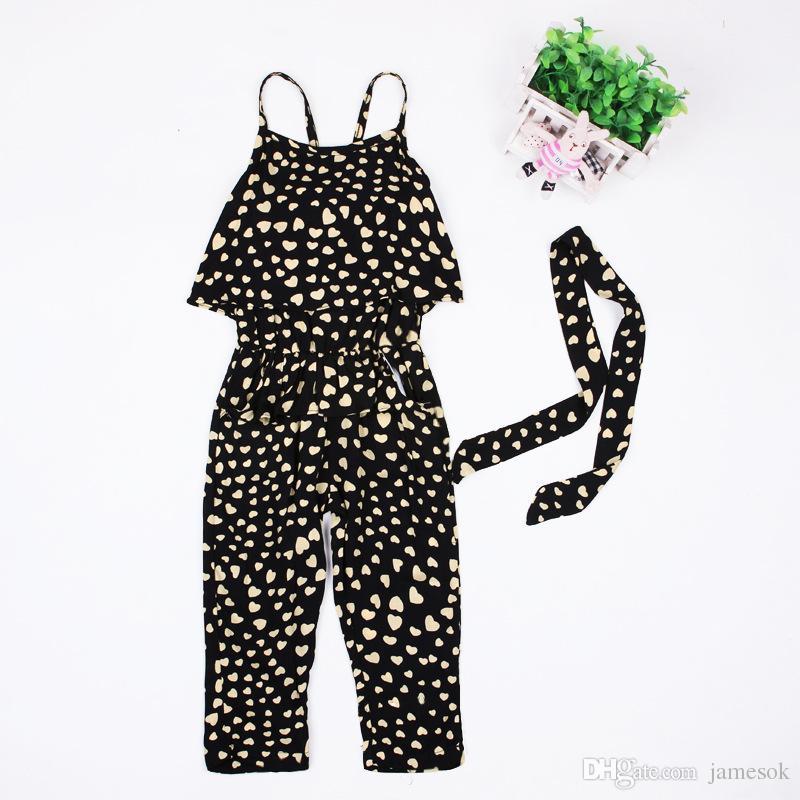 Niñas juegos de ropa de honda informal mameluco del bebé encantador en forma de corazón mono pantalones cargo trajes niños ropa niños traje TO526