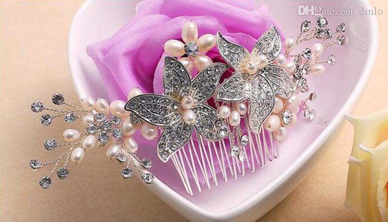 Elegant Headdress Bridal Wedding Hair Combs for Bride Crystal Rhinestones Pearls Women Hairpins Bridal Headpiece Hair Jewelry Accessories