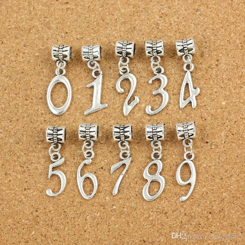 26f10364462da 200 pcs number Charms Pendants Dangles Beads Fit Bracelet or Bangle DIY  Jewelry from number 0- number 9