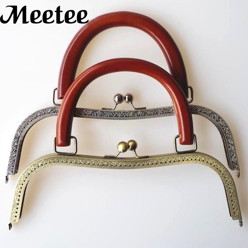 2018 Square Embossed Metal Purse Frame With Wooden Handles Vintage ...