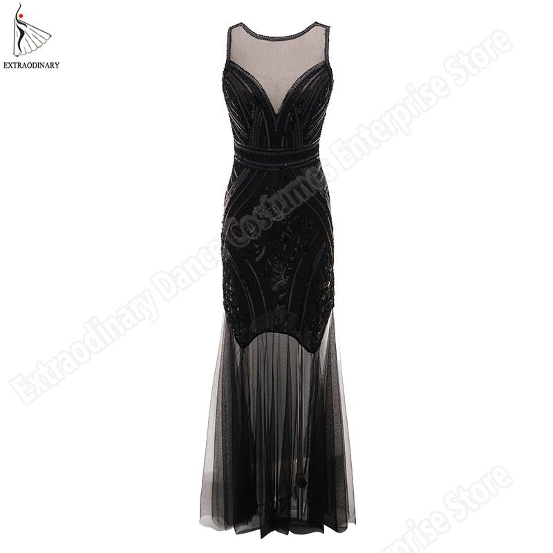 0a4f97ae21ce9 2019 Vintage Great Gatsby Flapper Dresses V Back Sequin Beads Party Dress  Art Deco Double Women 1920 S Sexy Sleeveless Costume From Meizuang