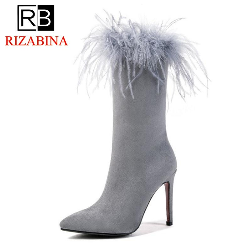 fce67b8ef4 RizaBina Size 33 43 Women Half Short Boots Winter Fur Shoes Woman High Heel  Warm Boots Sexy Mid Calf Zipper Ladies Shoes Ankle Boots Cowboy Boots From  ...