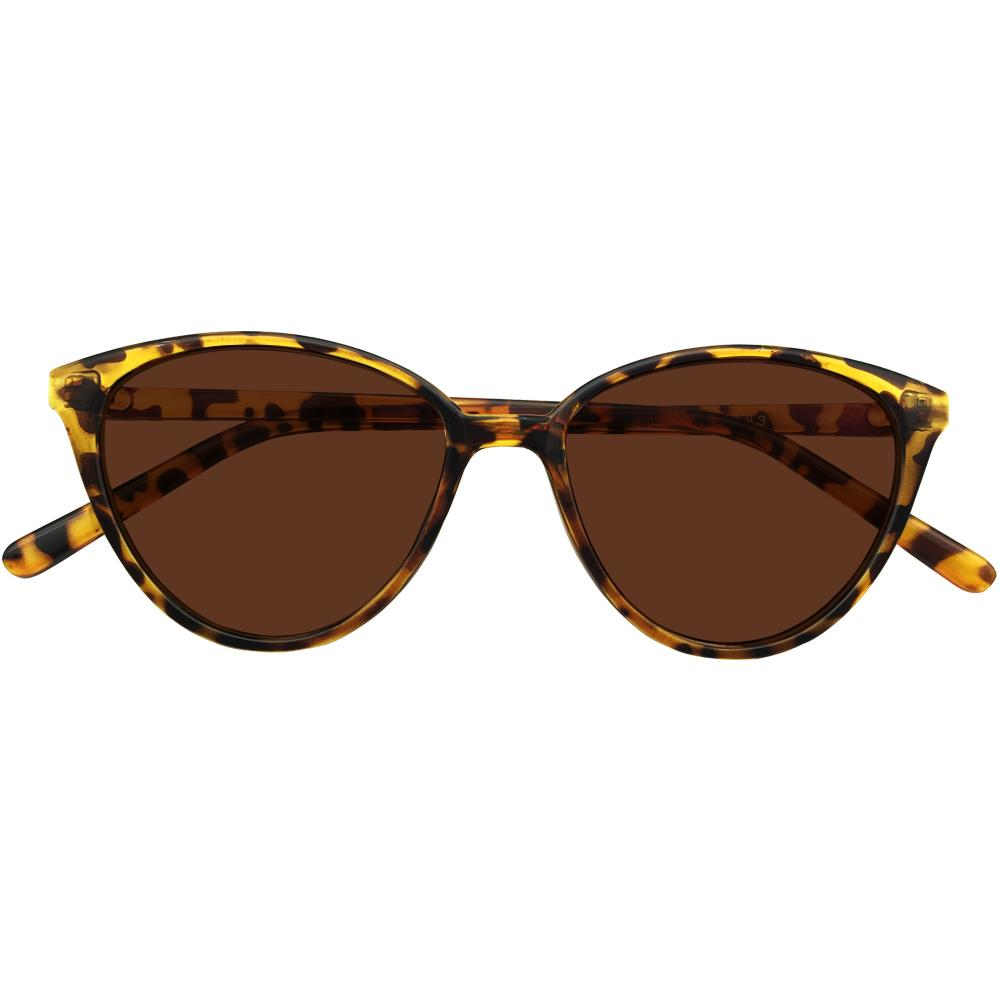 b9203c7902d Ladies Tinted Brown Polarized Cateye Distance Sunglasses Glasses ...