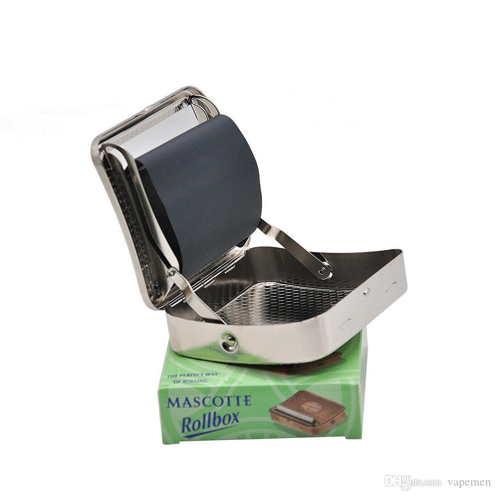 Neues Design Metall Tabak Roller Zigarettenhersteller Walzmaschine Zigarettenschachtel 70mm * 80mm Freies Shippin Silber OEM LOGO