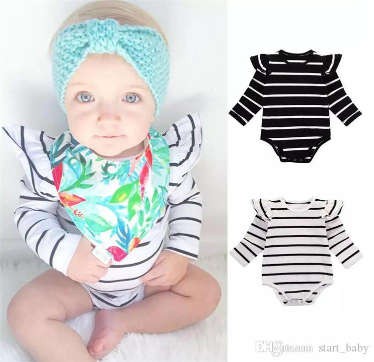 662600cc87b 2019 Newborn Infant Baby Boy Girls Bodysuit Striped White Black Girls  Romper Fashion Long Sleeve Jumpsuit Children Clothes Top Outfits 0 18M B11  From ...