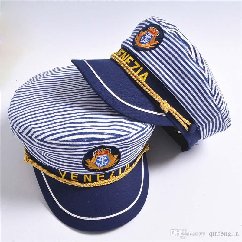 Blue White Military Hat Sailors Ship Boat Captain Navy Marine Cap Children  Cosplay Sea Boating Nautical Woman Stripe Hats 2Size UK 2019 From  Qinfenglin 2ddada2db68