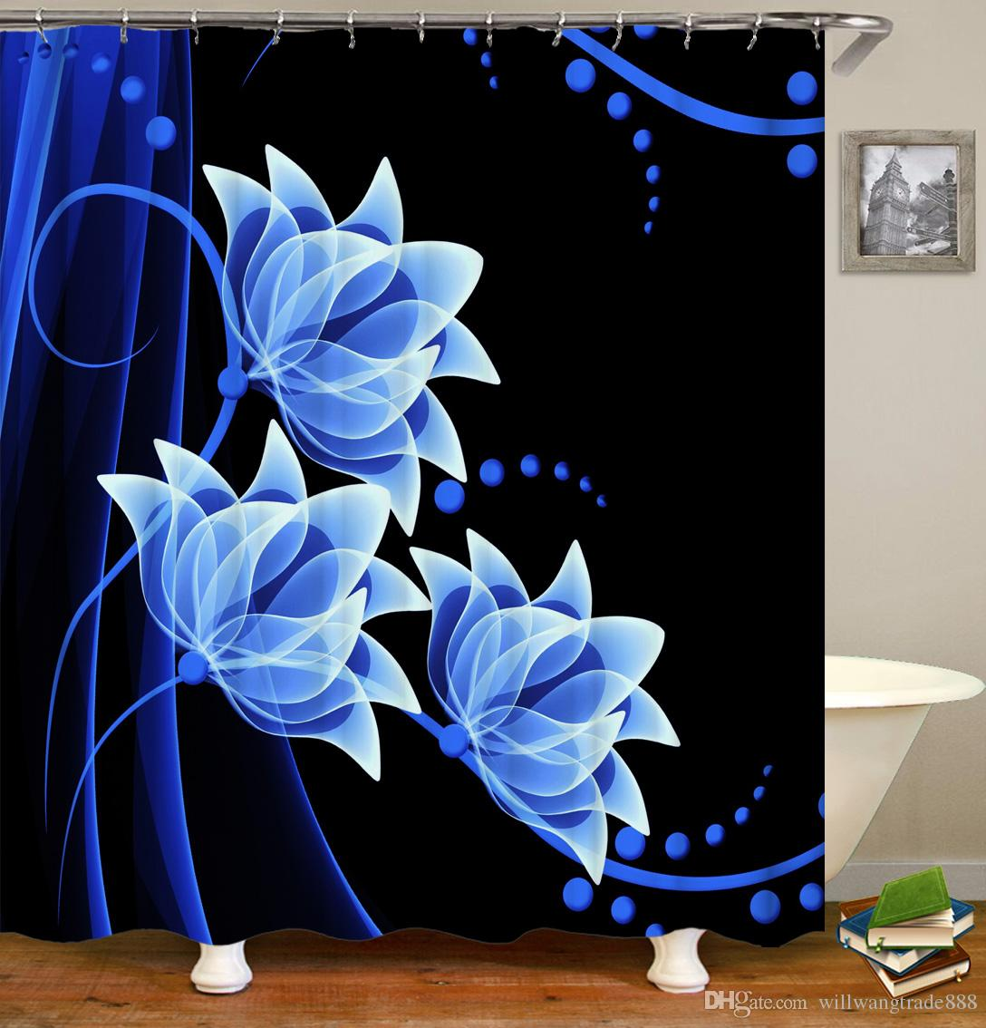 2019 Waterproof Gorgeous Flowers Roses Blue Lotus Water Lily Shower Curtain Digital Printing Bath With Rings 71x71INCH From Willwangtrade888