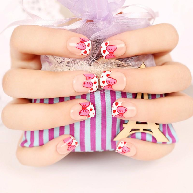 Fashion Pink French Fake Nail Tips For Child Knot Pre Designed Fake ...