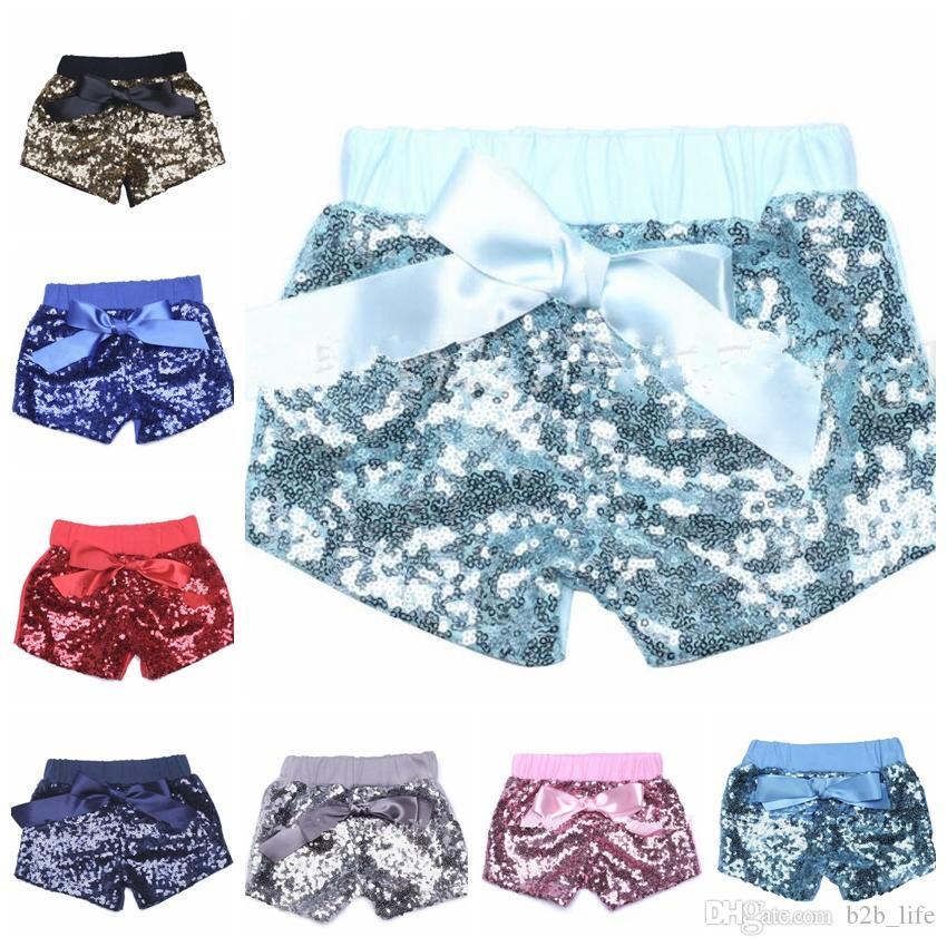 baby grils Sequin Shorts Bowknot Summer Infant Kids Party glitter lavender shorts Bling Dance Shorts Casual Fashion Pants KKA4368