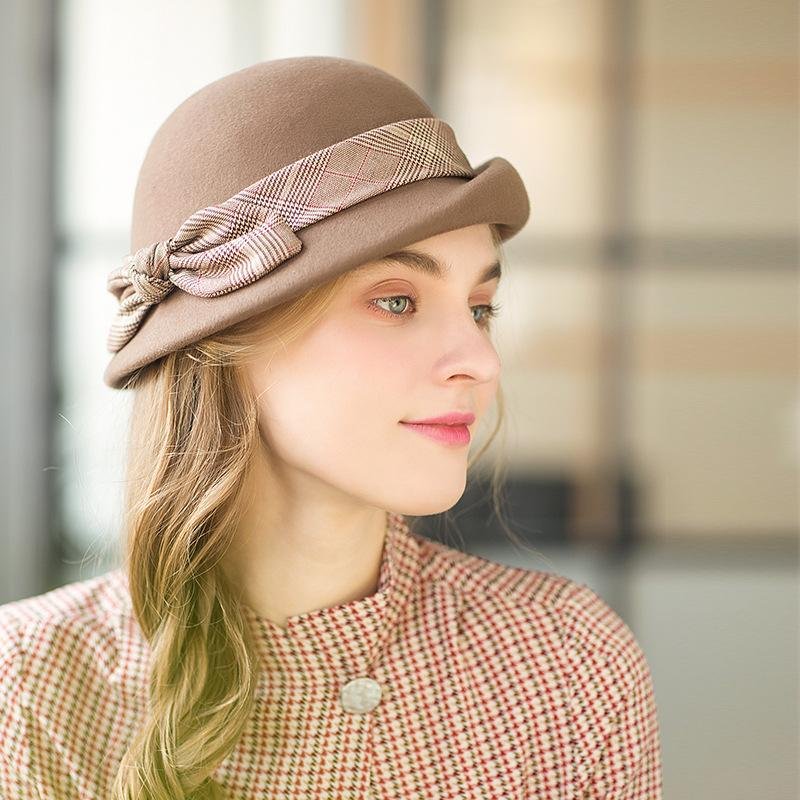7ae05928ab1ee 2019 Hat Female Winter Fashion Wool Thick Beret With Bow Tie Decoration  British Retro Wool Hat Fashion And Elegance From Blackfridayes