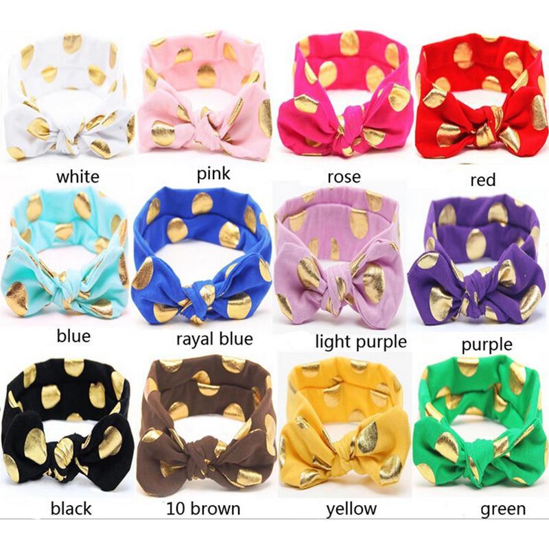 1 UNIDS Polka Dots Oro Algodón Recién Nacido Niñas Nudo Arco Cabeza Wraps Bandas de Pelo de Verano Diadema Niños Accesorios para el cabello