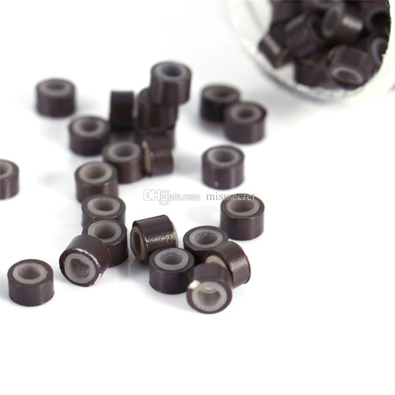 1000 шт. / бутылка кремния выстроились микро ссылки кольца бусины волос перо расширения 7 цветов дополнительные микро кольцо силиконовые кольца