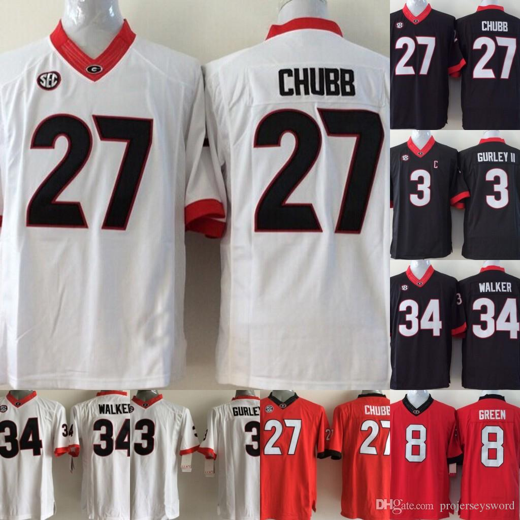 dc9029088af 2019 Mens Georgia Bulldogs College Jersey 7 D Andre Swift 1 Sony Michel 27  Nick Chubb 34 Herschel Walker Red White Black College Jerseys From  Projerseysword ...
