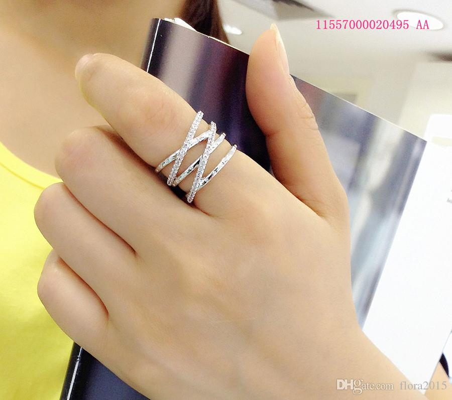 08742e91d3d6 New Fashion Premium CZ Multilayer Link Cross Opening Cuff Ring For Women  Daily Wearing Jewellery Dropshipping Suppliers