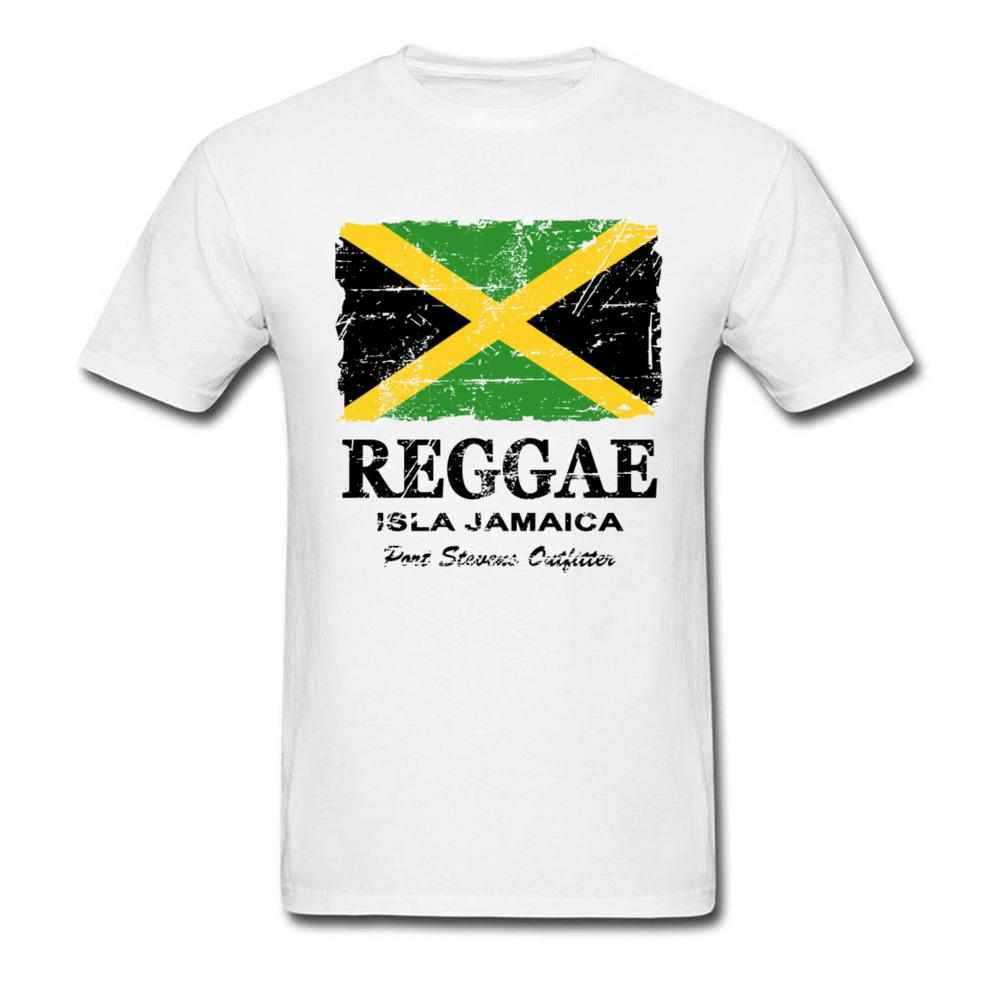 Reggae Jamaica Flag T-shirt Vintage Tops Men T Shirt Cotton Clothing O Neck  Tees Summer Team Tshirt Custom White Shirts