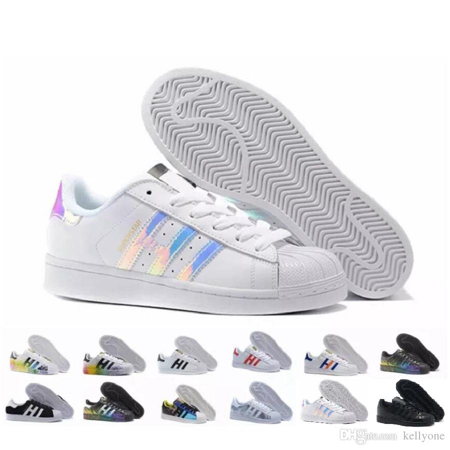 Adidas 2018 NOUVEAUX Originaux Superstar Blanc Hologramme Iridescent Superstars Junior 80 s Chaussures de Fierté Super Star Femmes Hommes Sport