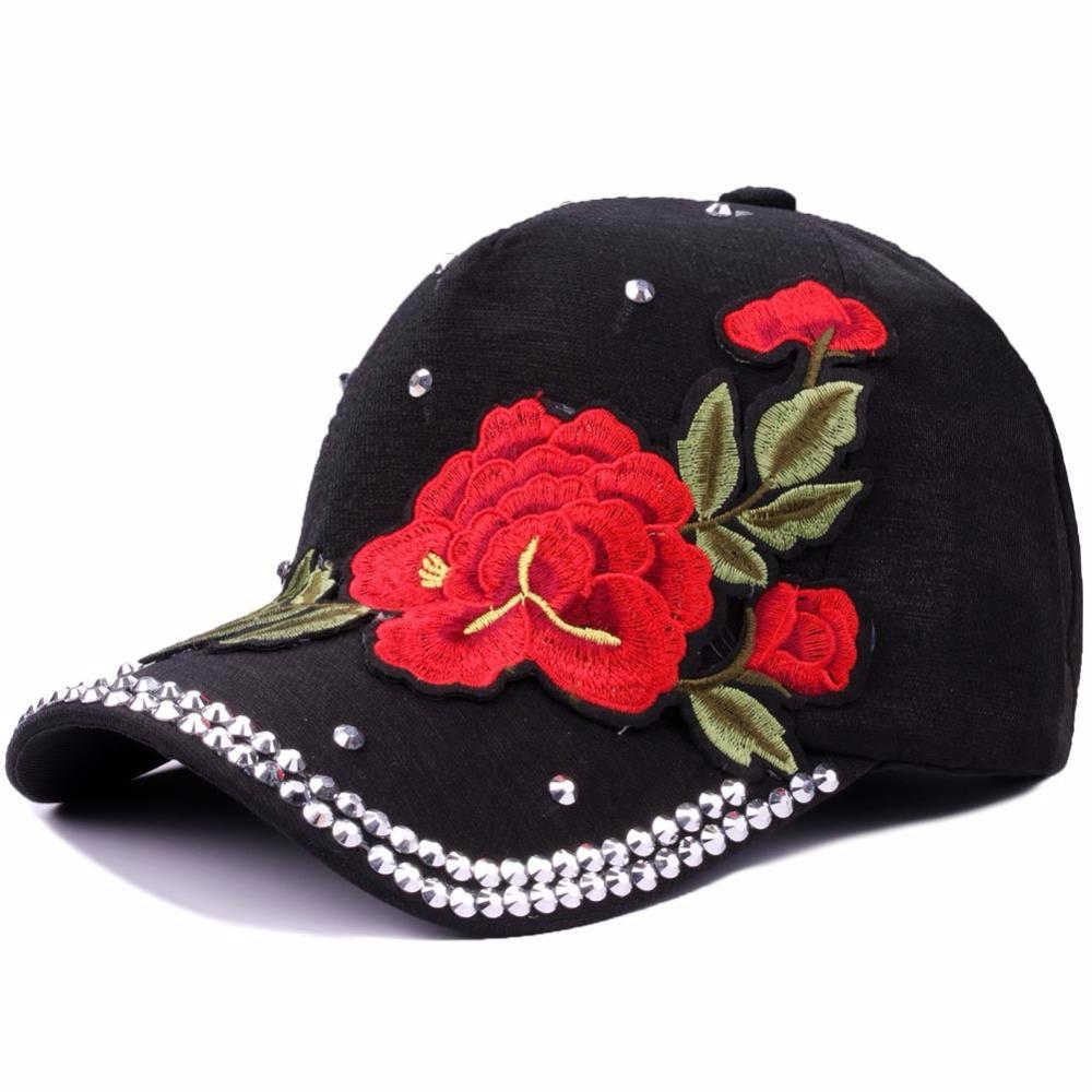 5c7eba58592 Myelo Vintage Ethnic Floral Embroidery Baseball Caps Hats Big Rose Flower  Patch Rhinestone Baseball Hats Women Lady Sports Caps Fitted Cap Baseball  Caps For ...